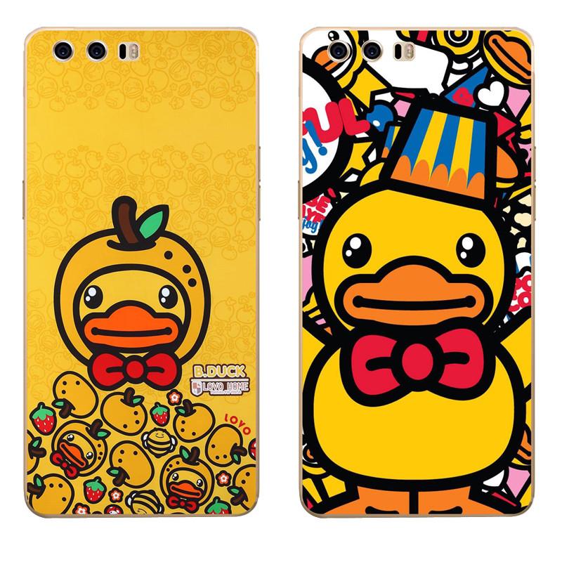 622款华为荣耀9手机套stf-al00保护软壳个性卡通可爱吃货小黄鸭挂绳
