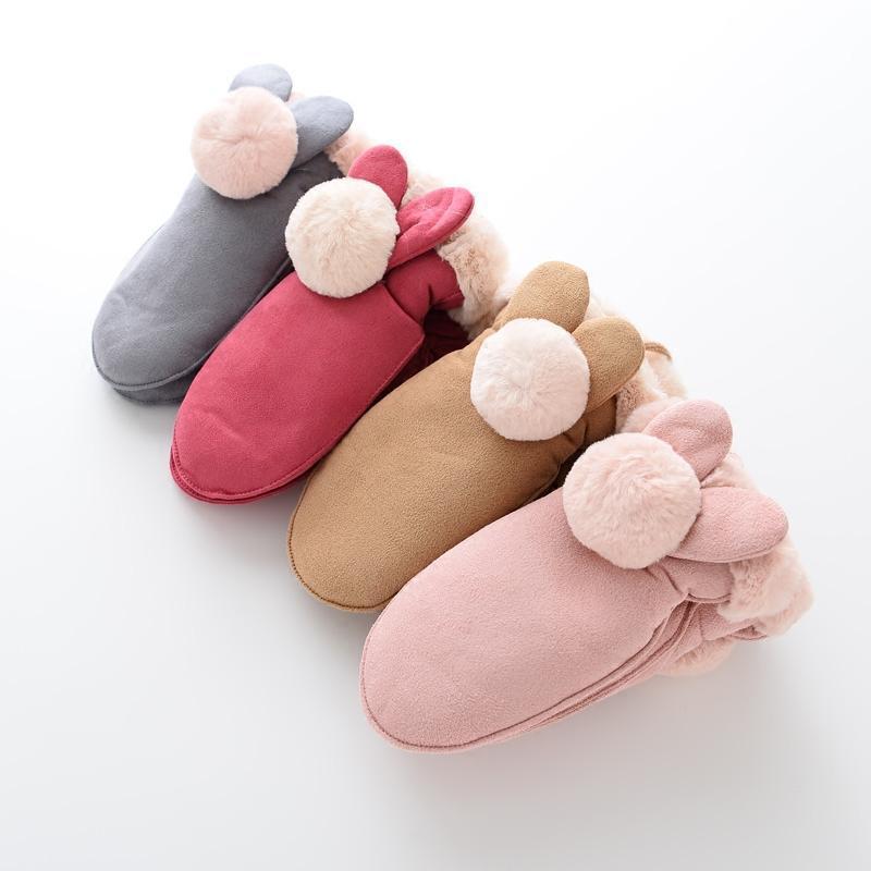 小学生冬天加厚加绒手套 可爱女童公主4-8-10岁儿童手套麂皮女孩