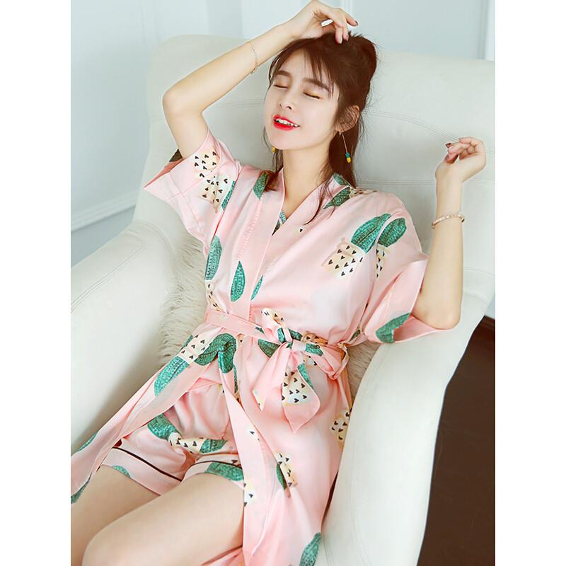 20172017睡衣女夏季冰丝韩国ins风清新可爱真丝四件套