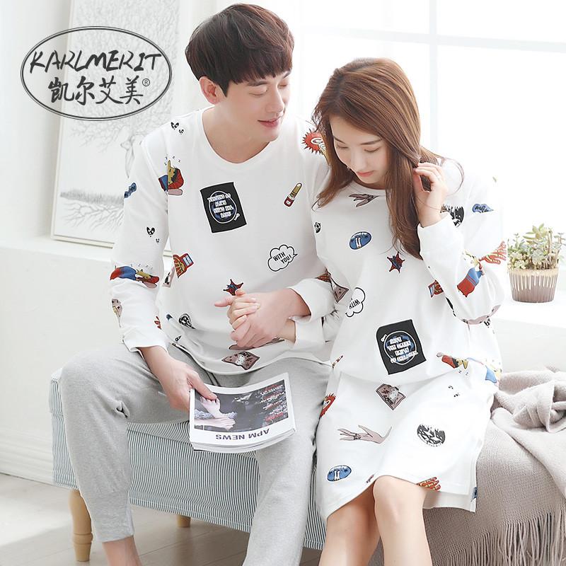 新款春秋长袖情侣睡衣韩版女士纯棉睡裙卡通可爱男夏季全棉家居服套装