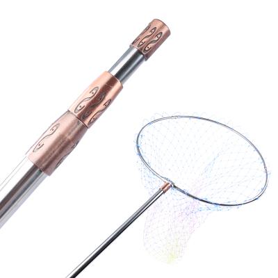 不銹鋼可伸縮可定位涂膠抄網 折疊 抄魚網 抄網桿 抄網頭