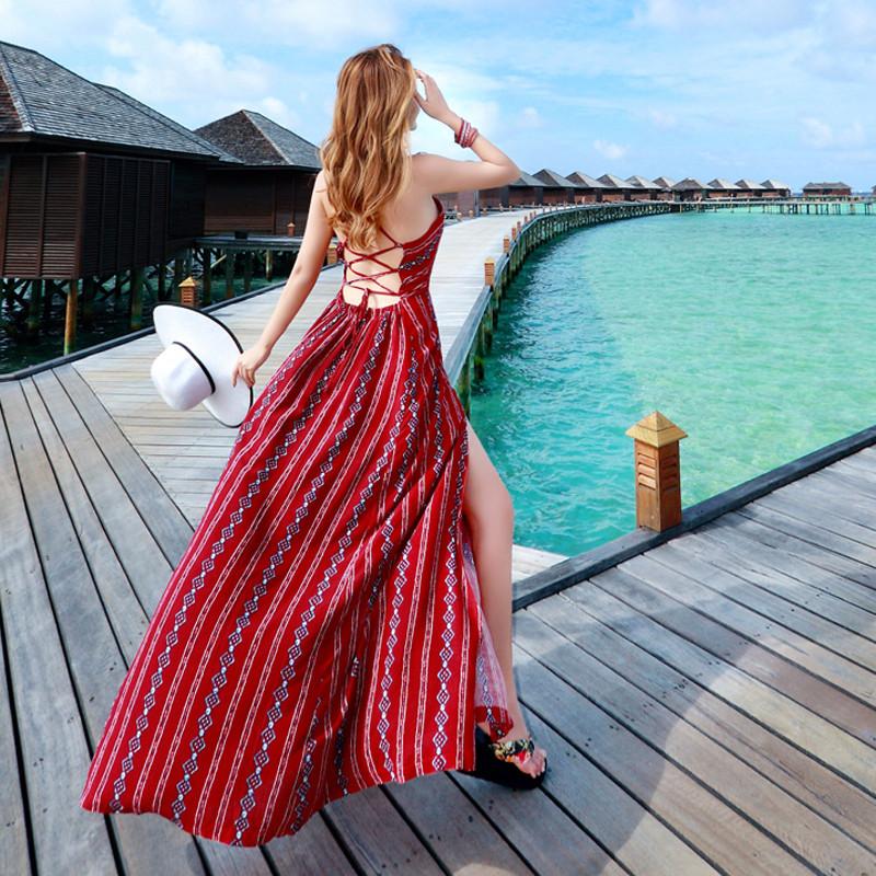 海边度假吊带连衣长裙露背沙滩裙波西米亚长裙性感开叉连衣裙显瘦