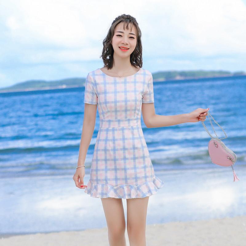 荷叶边包臀鱼尾裙连衣裙女夏2017新款修身显瘦格子短裙小清新裙子