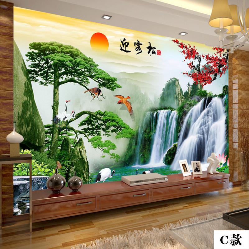 塞拉维3d立体电视背景墙布现代中式山水壁画无缝整张按尺寸定做