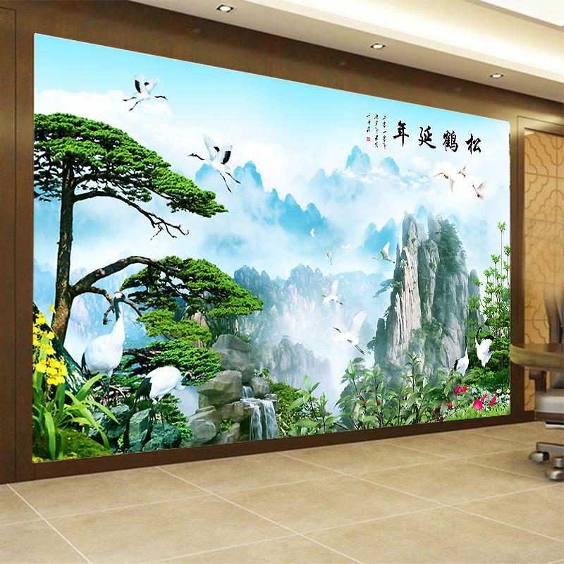塞拉维中式山水壁纸3d电视背景墙墙纸客厅迎客松壁画影视墙墙布图片