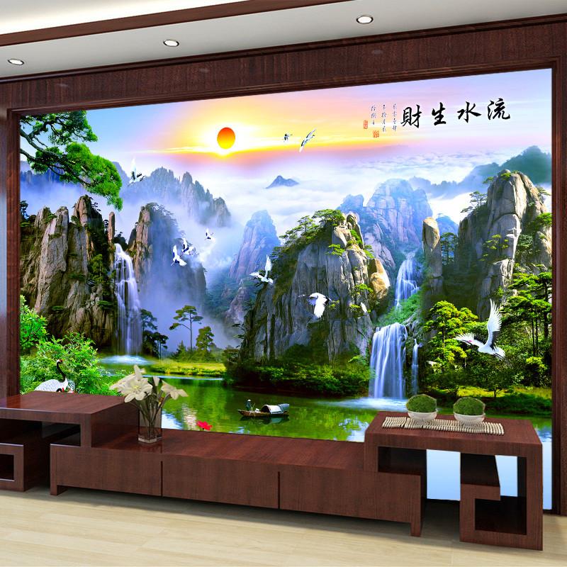 塞拉维中式山水壁纸3d电视背景墙墙纸客厅迎客松壁画影视墙墙布