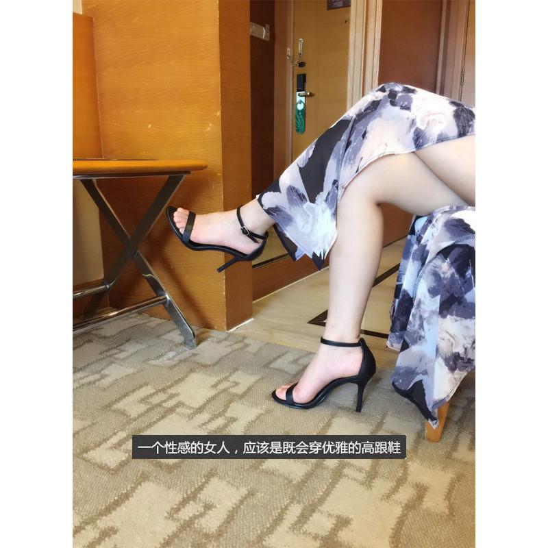 夏季2017新款百搭女超高跟鞋黑色性感细跟一字扣带露趾凉鞋
