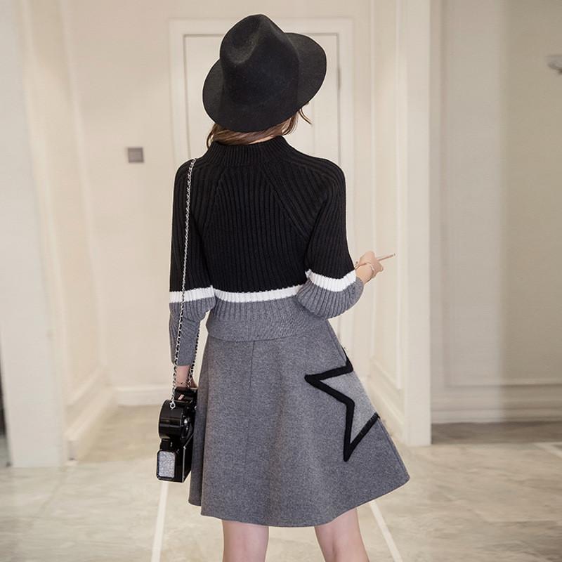 秋冬韩版针织两件套连衣裙2017新款长袖小香风冬季套装裙气质女装