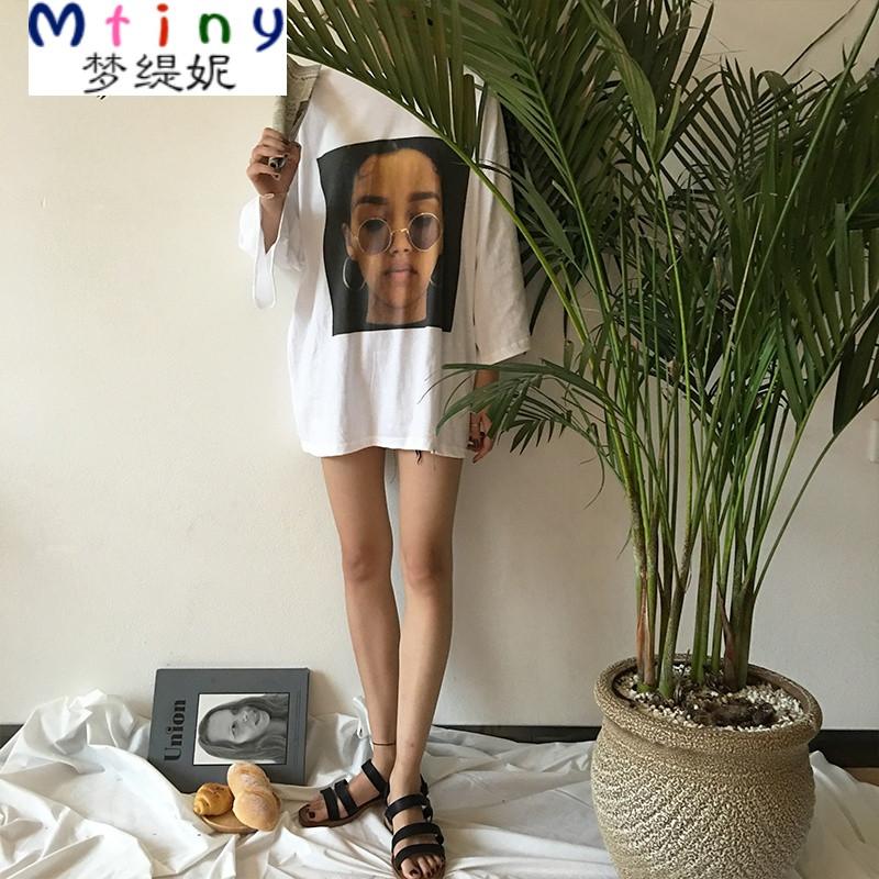 mtinyins欧美风韩国百搭创意情侣t恤女宽松简约头像照片印花个性上衣