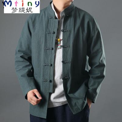 Mtiny唐裝中國風男裝亞麻外套男民族服裝中年中式休閑長袖外套中山裝