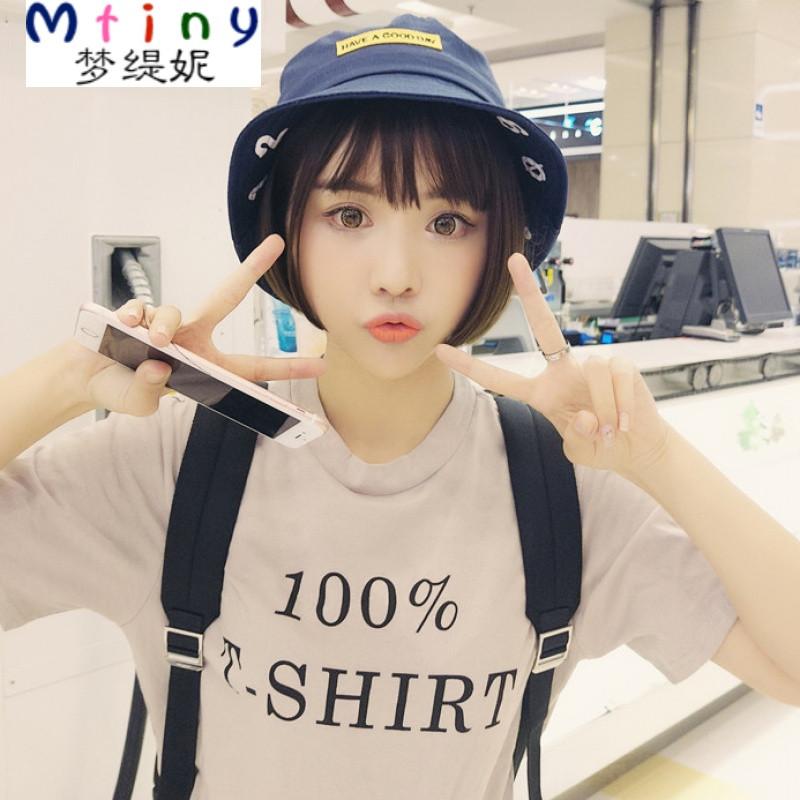 mtiny韩版夏季帽子女可爱少女数字渔夫帽百搭学生遮阳