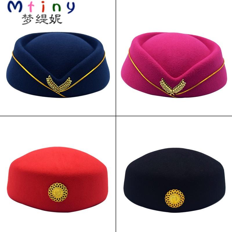 mtiny贝雷帽空姐帽舞蹈礼仪帽子红色军鼓乐队演出帽广场舞毛呢帽子