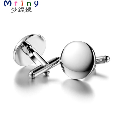 Mtiny禮盒裝 新品 cufflinks 圓形簡約金屬袖扣袖釘男女法式襯衫袖口釘