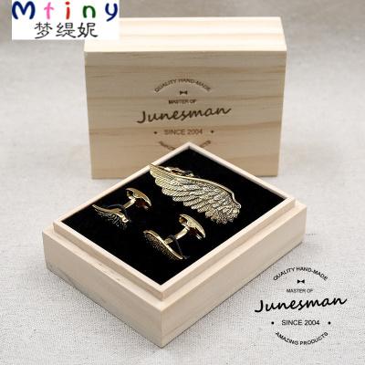 """Mtiny品質成品 手工雕花 法式袖扣領帶夾套裝 """"天使之翼"""" 金"""
