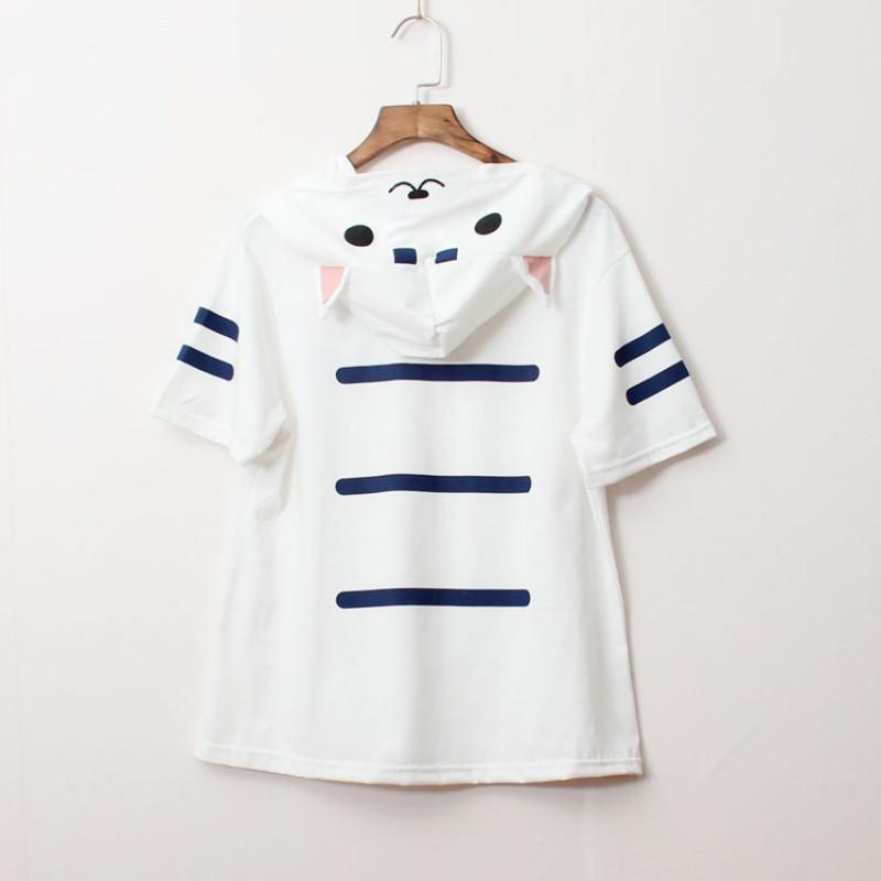 2017款】日系小清新可爱印花猫咪学生软妹短袖t恤女连