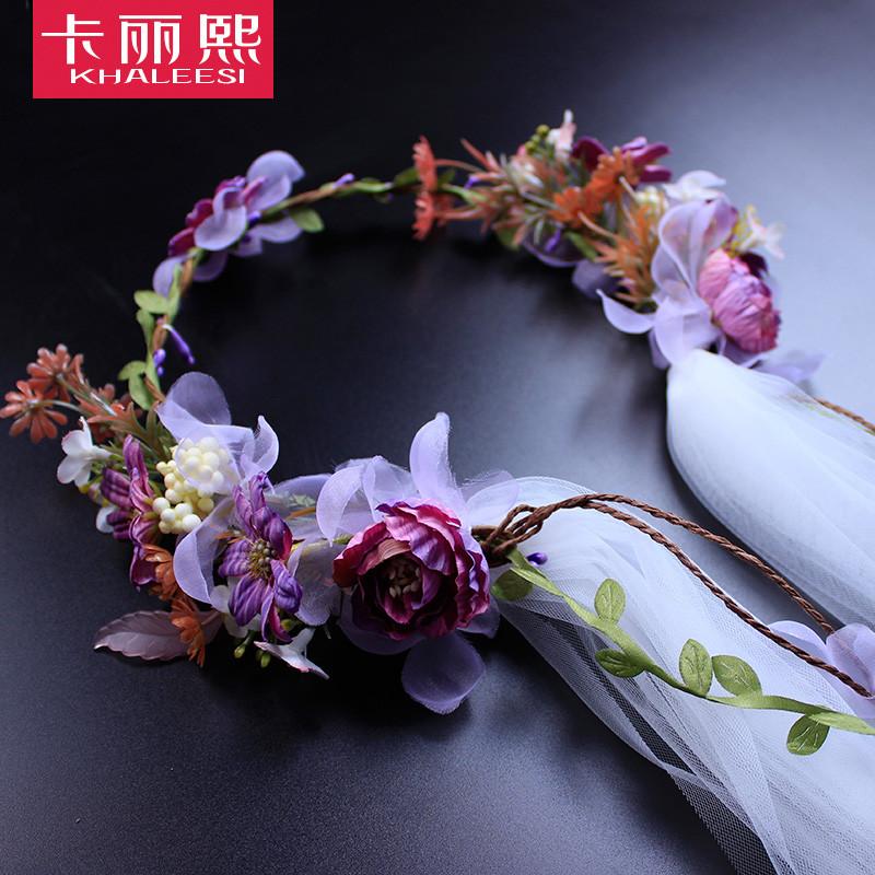 【新款2017】韩式新娘花环头纱头饰森系花朵公主婚纱结婚婚礼影楼造型