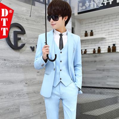 上新款 春夏西服套裝男三件套韓版修身小西裝男士職業裝禮服學生帥氣正裝-定制款