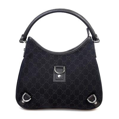 古驰(GUCCI)优雅黑经典钻石纹拉链时尚帆布软手提单肩包 女 香港直邮