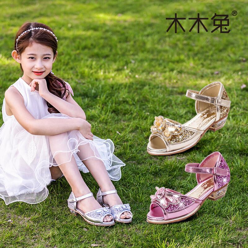 opzc女童凉鞋新款韩版女孩公主高跟鞋夏季中大童儿童鞋子小学生潮