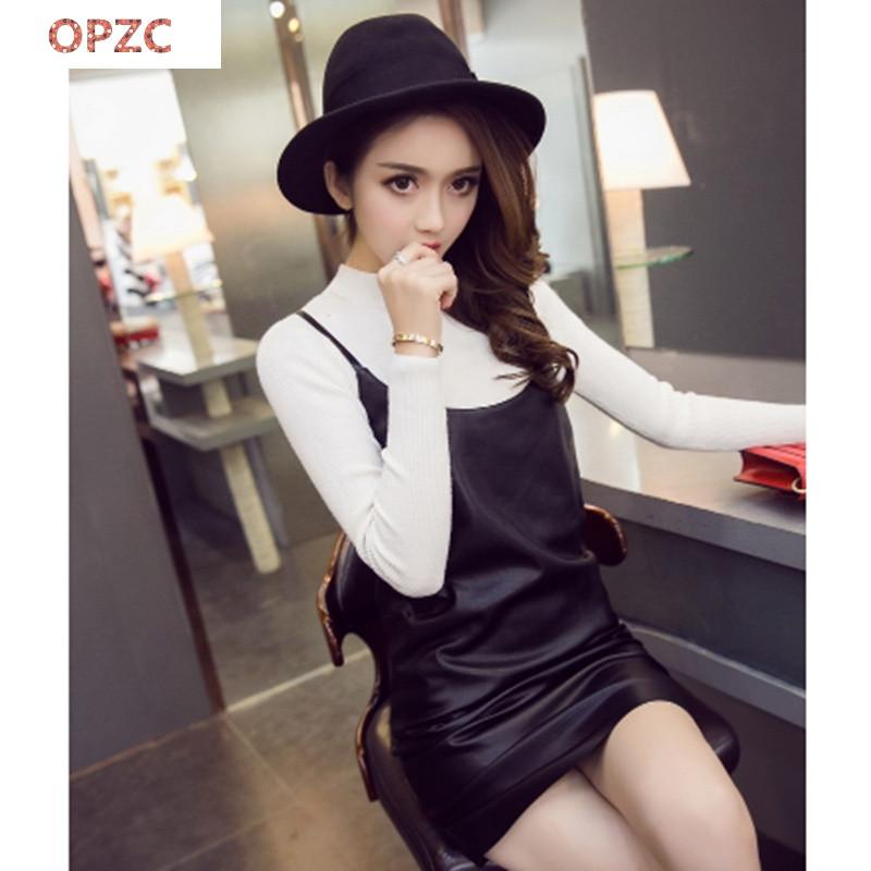 opzc秋冬新款女装韩版时尚潮流吊带皮裙可爱娃娃装简约纯色宽松休闲
