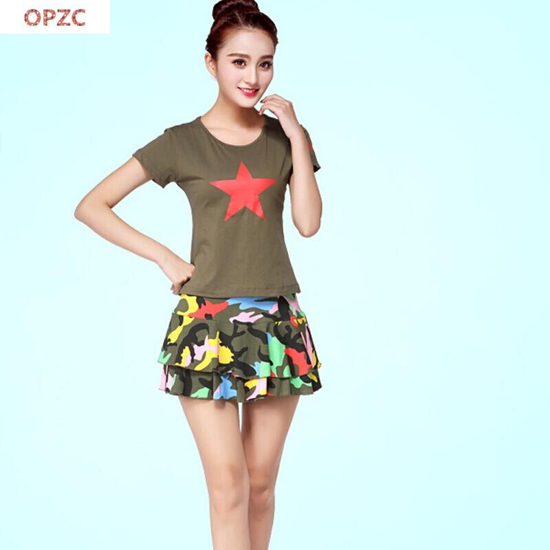 opzc春夏广场舞服装套装水兵舞蹈迷彩短袖上衣裙演出服图片