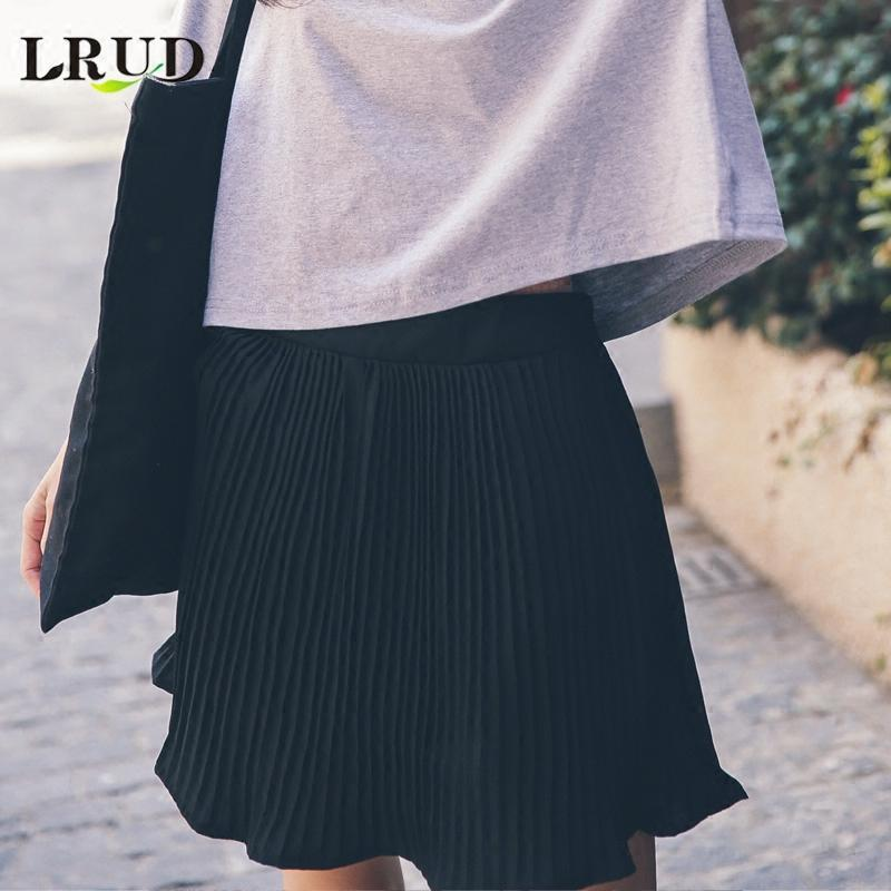 新款上市】2017夏装女装新款韩版学院风百褶裙高腰半身裙短裙女白色
