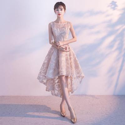 818款晚礼服女2018新款前短后长宴会优雅短款蓬蓬公主小礼服聚会连衣裙-定制款