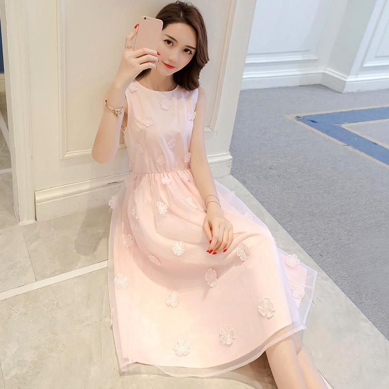 818款小清新裙子夏季2018新款女潮学生韩版粉色礼服欧