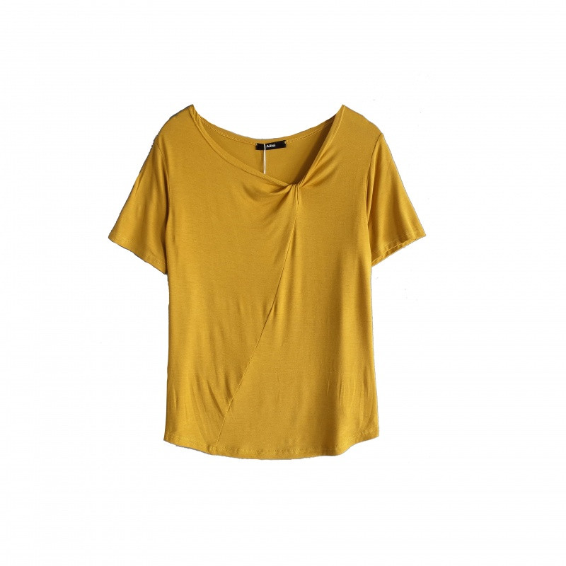 818款领口设计感小心机上衣韩版莫代尔宽松v领短袖t恤