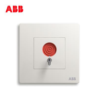 ABB开关插座 轩致无框 雅典白色一位报警开关6A 紧急开关AF419