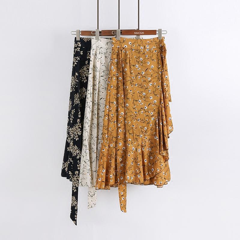 2017夏新款波西米亚一片式绑带不规则碎花雪纺半身裙中长裙鱼尾裙
