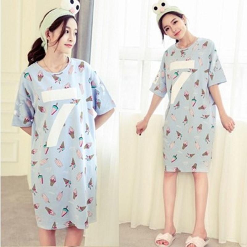 娉语宽松纯棉睡裙女夏季短袖韩版卡通学生睡衣夏中长裙可爱甜美连衣裙