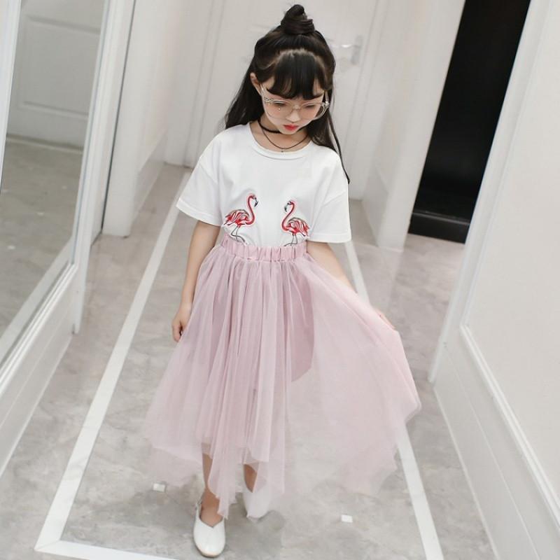 娉语童装儿童套装夏装2018新款中大女童套裙公主韩版潮纯棉短袖两件套