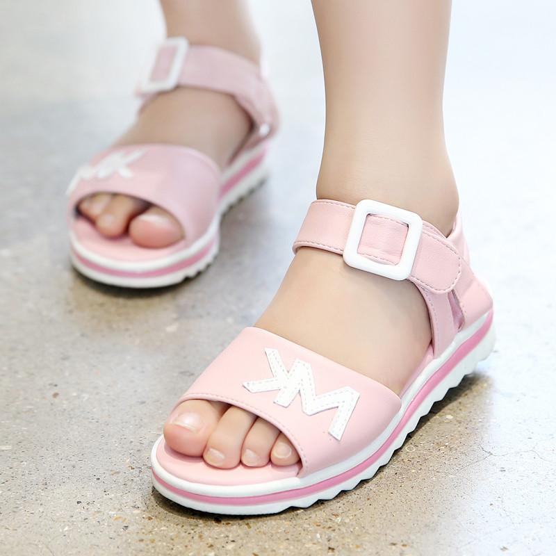 娉语童鞋女童凉鞋2017新款夏季中大童小女孩公主鞋儿童凉鞋女童沙滩鞋