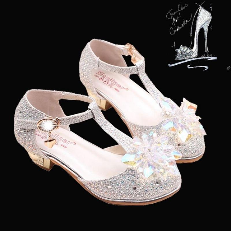 娉语儿童灰姑娘水晶鞋公主高跟鞋10岁女童春大童单鞋夏皮鞋水钻表演女