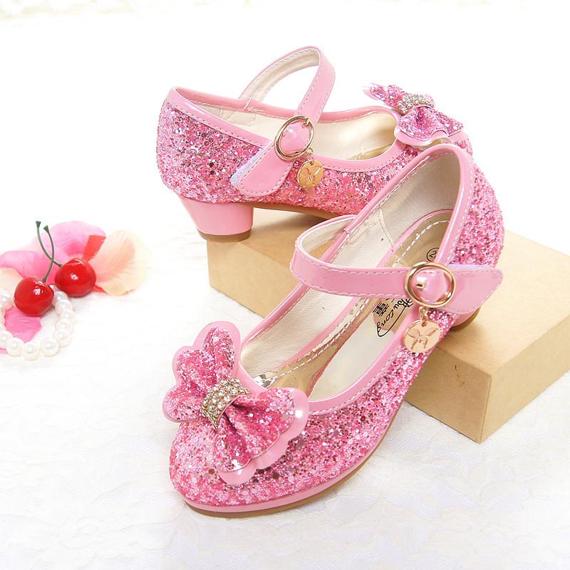 娉语冰雪奇缘蓝色水晶鞋女童迪士尼爱莎elsa公主鞋小女孩高跟鞋儿童鞋