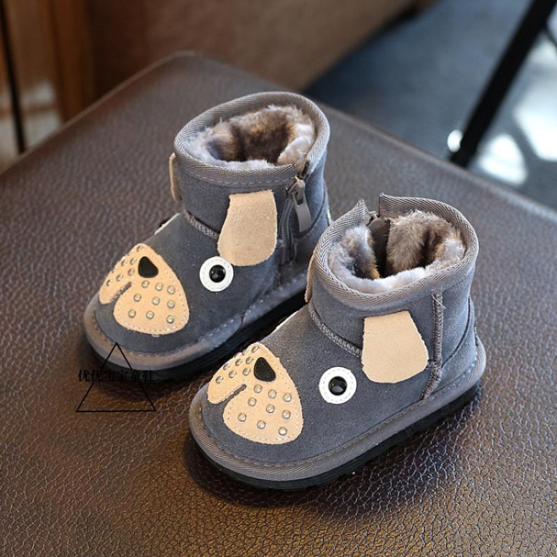 娉语男宝宝卡通雪地靴1-3 韩版可爱小狗棉鞋加绒保暖棉鞋女童真皮短靴