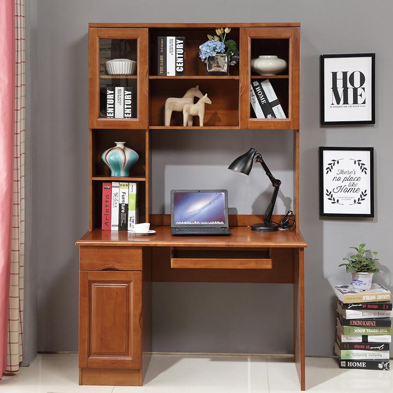 仟嘉恋 实木电脑桌 家用书桌带书架 台式书柜组合一体