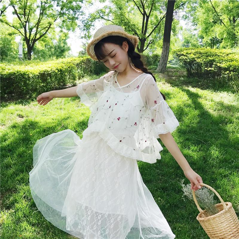 夏装韩版少女中长款蕾丝吊带裙学生仙女裙连衣裙长裙