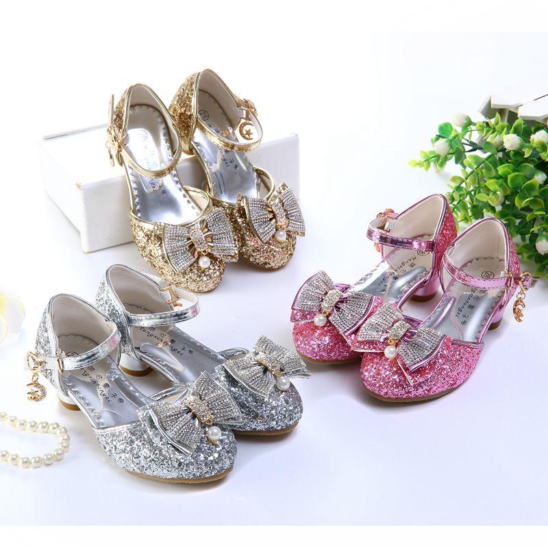 娉语儿童凉鞋5包头蝴蝶结鞋7女童8高跟9公主10小孩表演鞋11水晶鞋12岁
