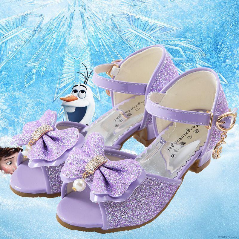 娉语女童凉鞋2018新款韩版夏季公主鞋儿童高跟鞋小女孩冰雪奇缘水晶鞋