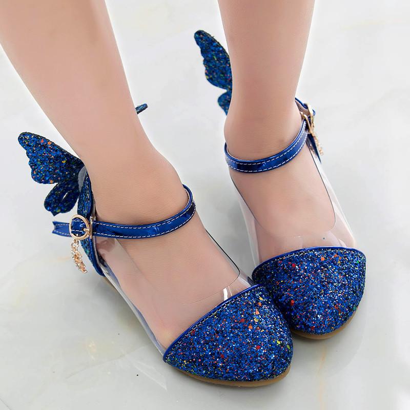 娉语儿童鞋灰姑娘水晶鞋公主高跟鞋春秋女童公主鞋单鞋水钻表演女童鞋