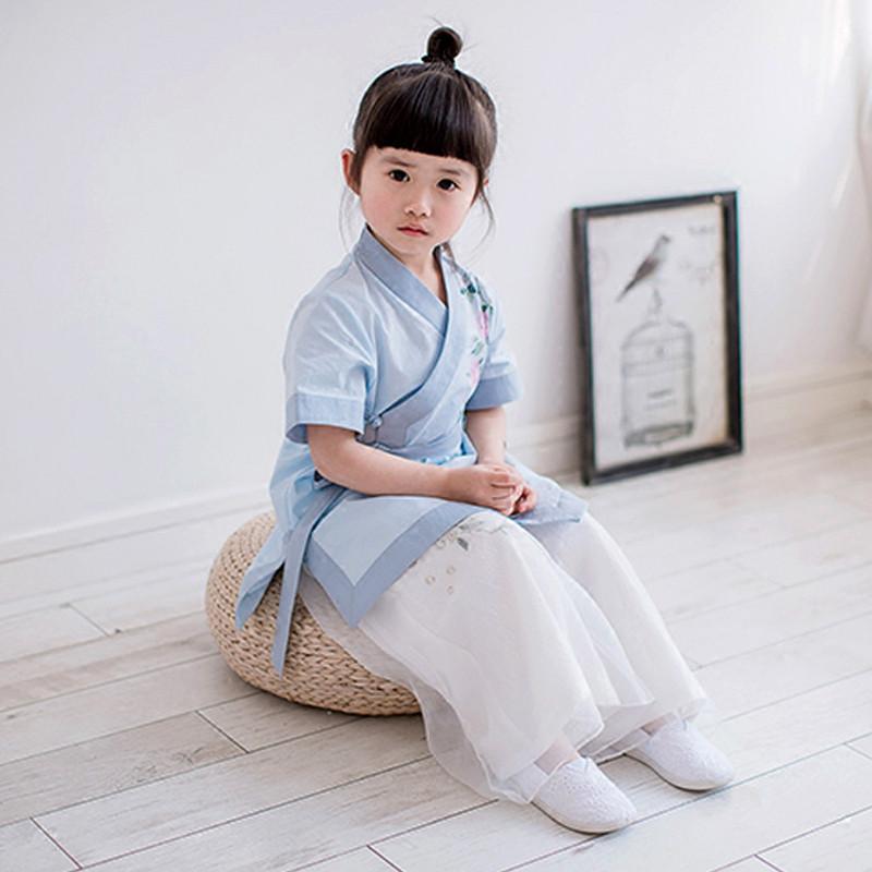 娉语汉服女童2018新款夏季女宝宝民族风系带上衣中国风复古连衣裙唐装