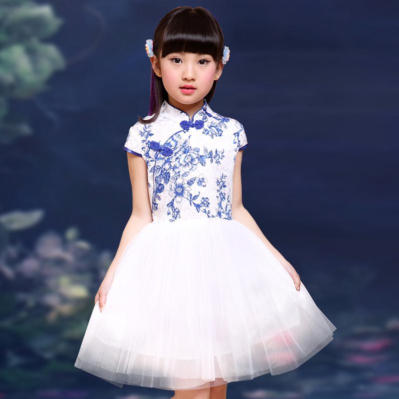 娉语儿童民族风公主连衣裙 女童古筝演出服装 小孩女孩舞蹈表演服