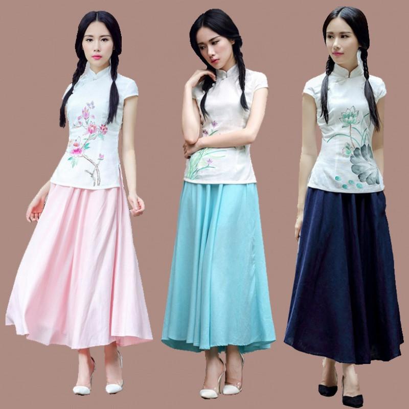 娉语夏季民国风文艺女生手绘麻棉上衣长裙旗袍套装唐装两件套装连衣裙