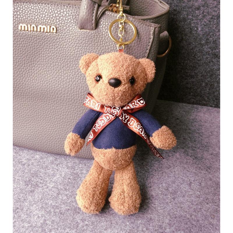 娉语可爱小熊钥匙扣女款创意汽车钥匙链韩国毛绒挂饰包包挂件卡通公仔