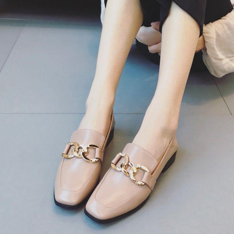 娉语英伦风女鞋学生学院风复古小皮鞋一脚蹬韩版百搭软妹方头懒人单鞋