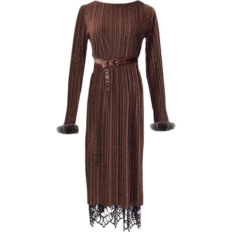 金丝绒裙长袖连衣裙