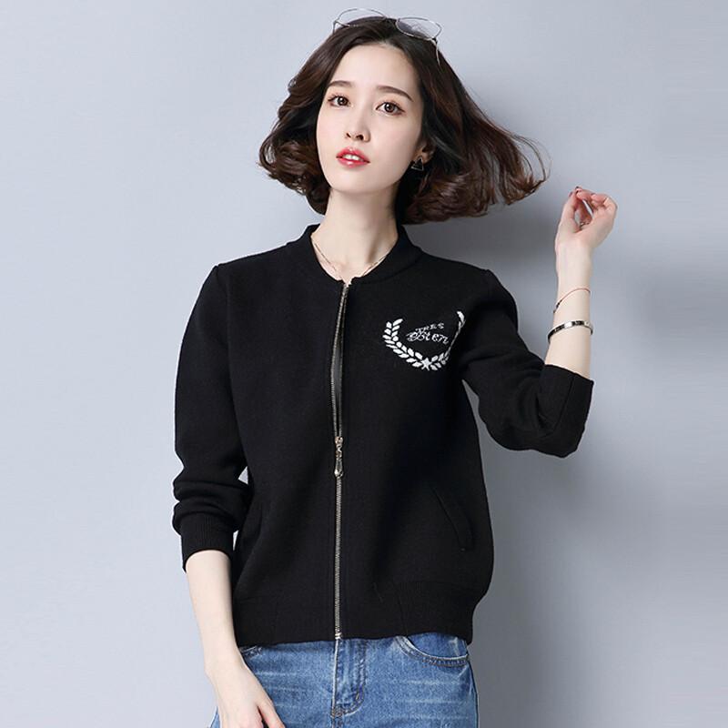 ctrlcity春装新品宽松长袖针织衫开衫毛衣外套搭针织开衫棒球服短外套