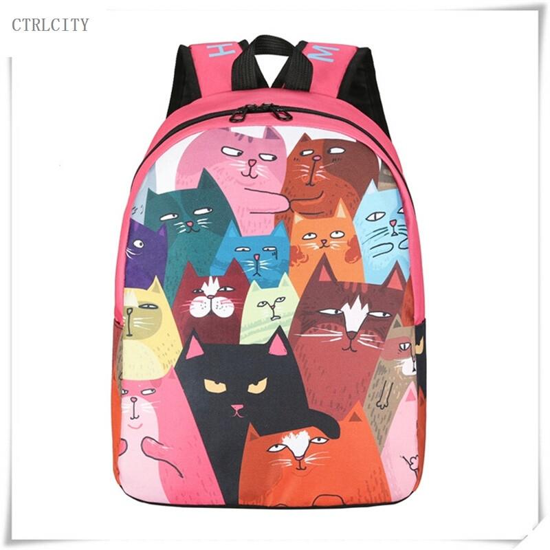 ctrlcity可爱猫咪双肩包女卡通书包女中学生韩版校园帆布背包原宿风